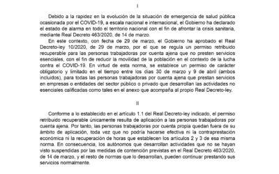 Criterios de aplicación para el Real Decreto-Ley 10/2020